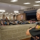 School resource officer watches students