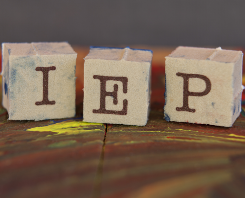 Letter blocks that spell out IEP