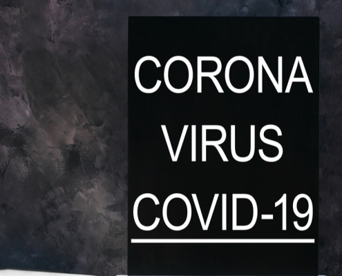 Coronavirus name written on a chalkboard